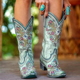 Vieley Flower Embroidery Boots Side Zipper Low Heel Boots