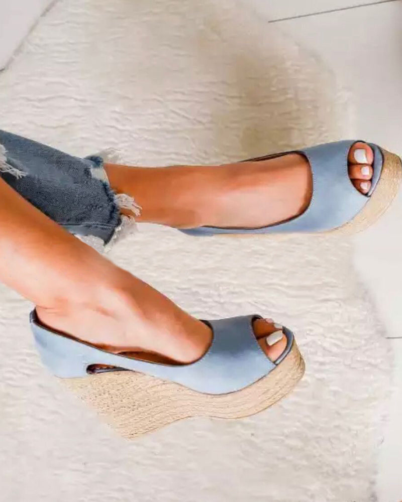 Vieley Espadrille Peep Toe Slingback Wedges Heeled Sandals