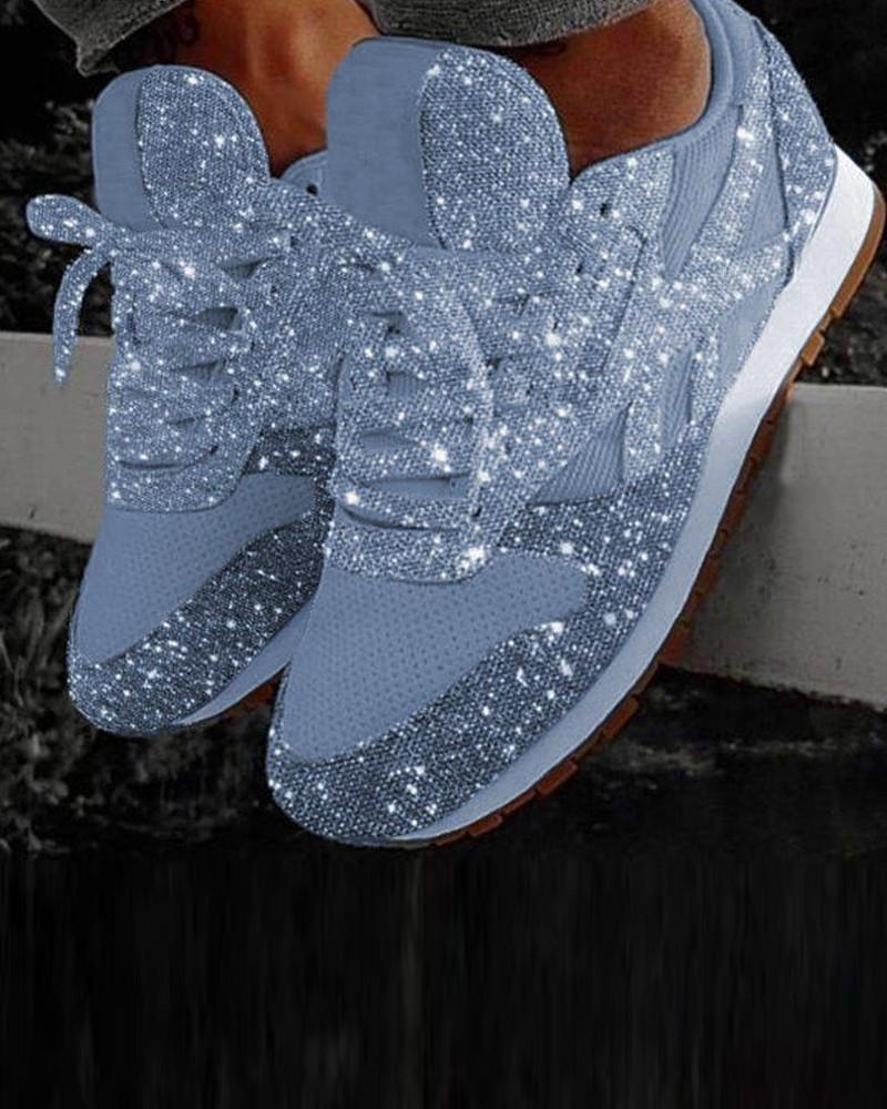Vieley Glitter Casual Bling Vulcanized Mesh Lace Up Sneakers