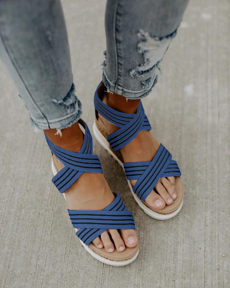 Vieley Striped Wedges Back Zipper Open Point Toe Cross Ankle Strap Sandals
