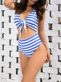 Vieley Womens Striped High Waisted Bikini Tie Knot Two Piece Bathing Suits