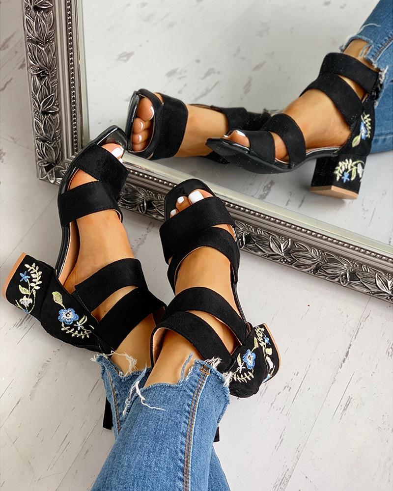 Vieley Embroidery Square Toe Chunky Heeled Elastic Ankle Stap Elegant Sandals