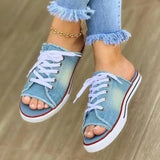 Vieley Womens Open Toe Lace-up Denim Slide Sandals