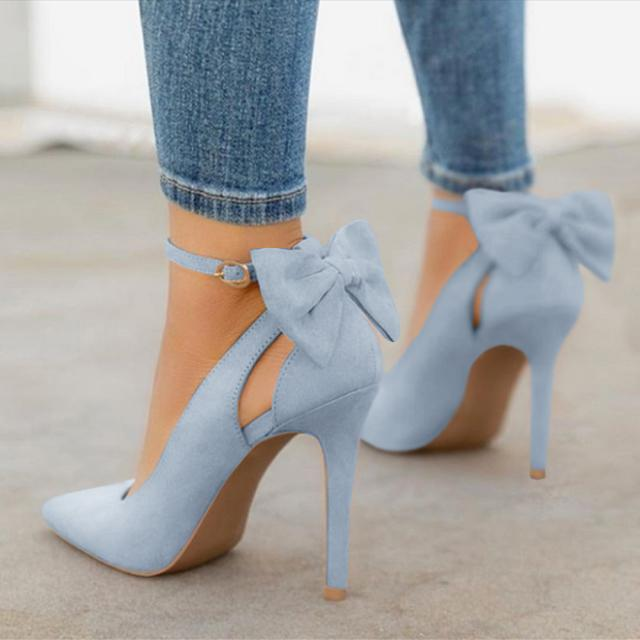 High Heels Ponited Toe Bowtie Pumps with Ankle Buckle Strap