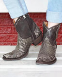 Vieley Side Zipper Booties Rivet Embellished Pointed Toe Short Boots