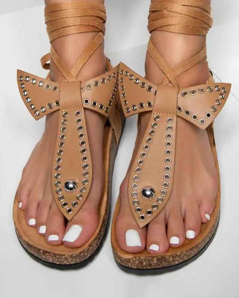 Vieley Thong Ankle Wrap Cork Flat Sandals