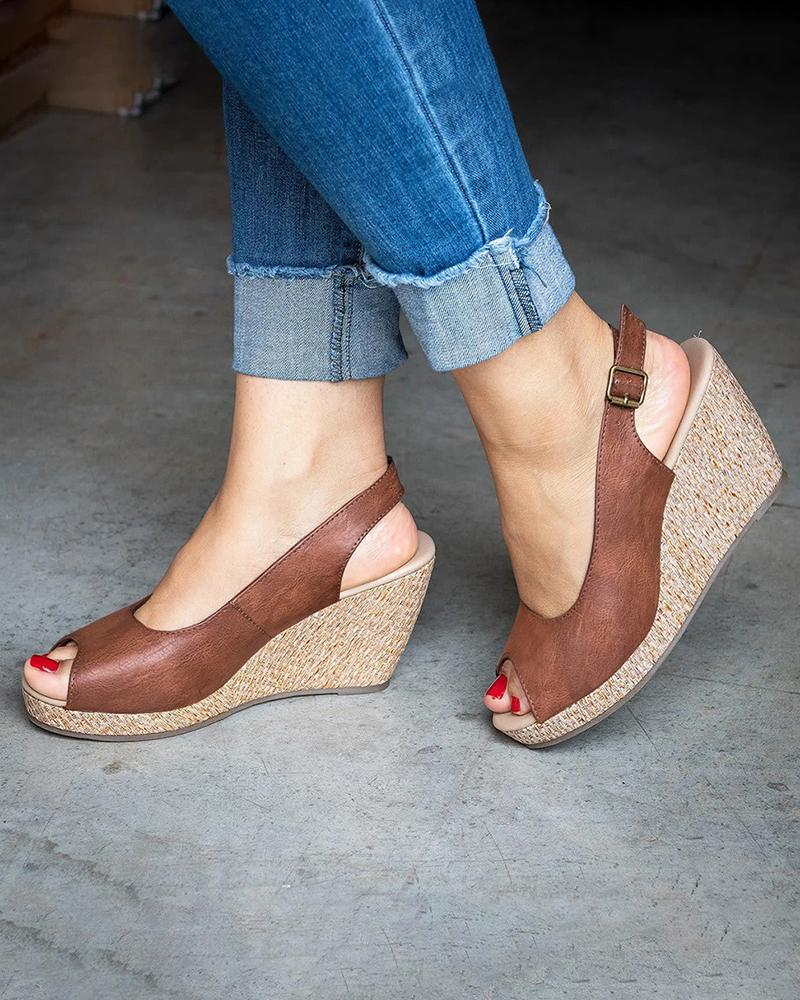 Vieley Espadrille Peep Open Toe Slingback Wedges Buckled Ankle Strap Slip-on Sandals