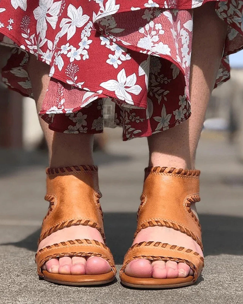 Vieley Wedge Back Zippers Cut Up Sandals