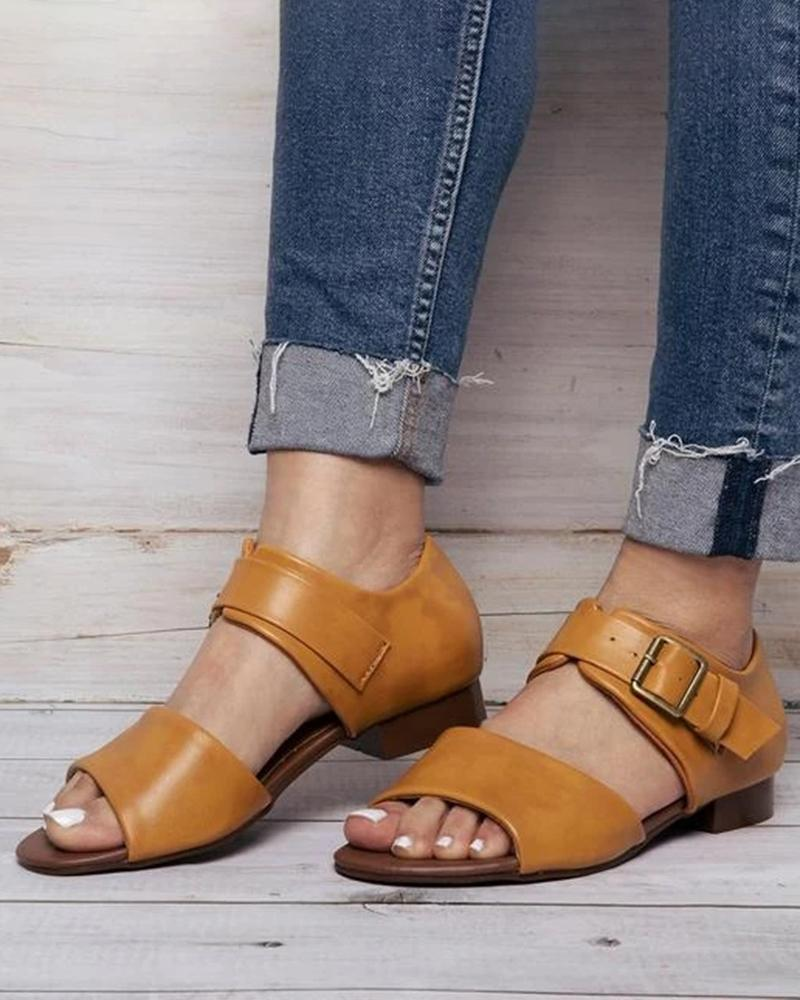 Vieley Peep Open Toe Buckle Strap Cut-out Solid Color Sandals