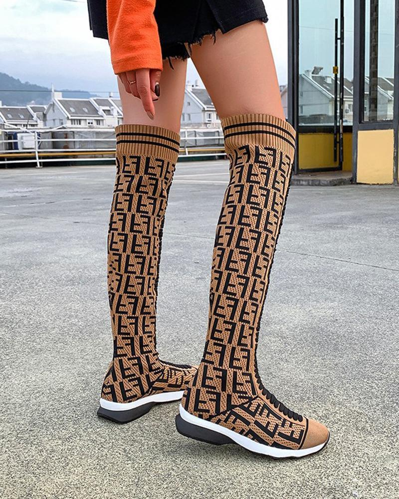 Vieley Womens Pattern Printed Knee High Boots