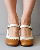 Vieley Womens Retro Round Toe Ankle Strap Mary Jane Shoes