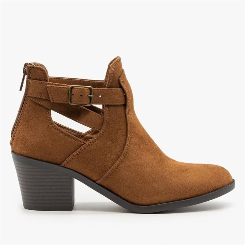 Vieley Cut-out Buckle Boots Solid Color Back Zipper Booties