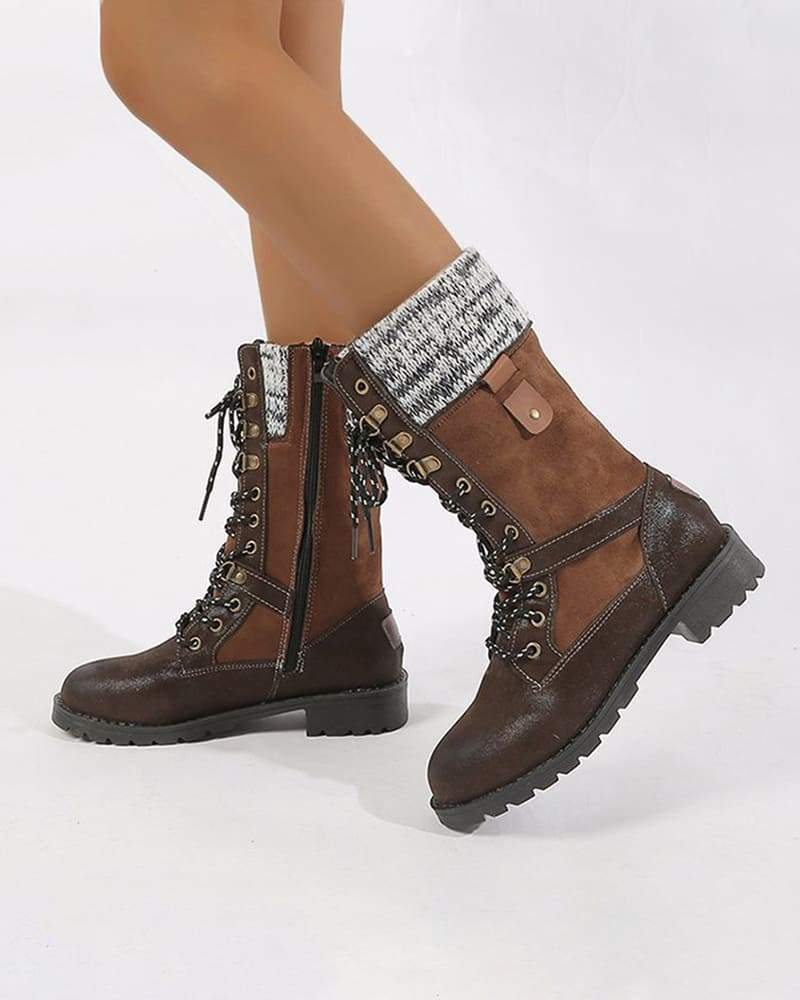 Vieley Womens Knitted Lace-up Retro Boots