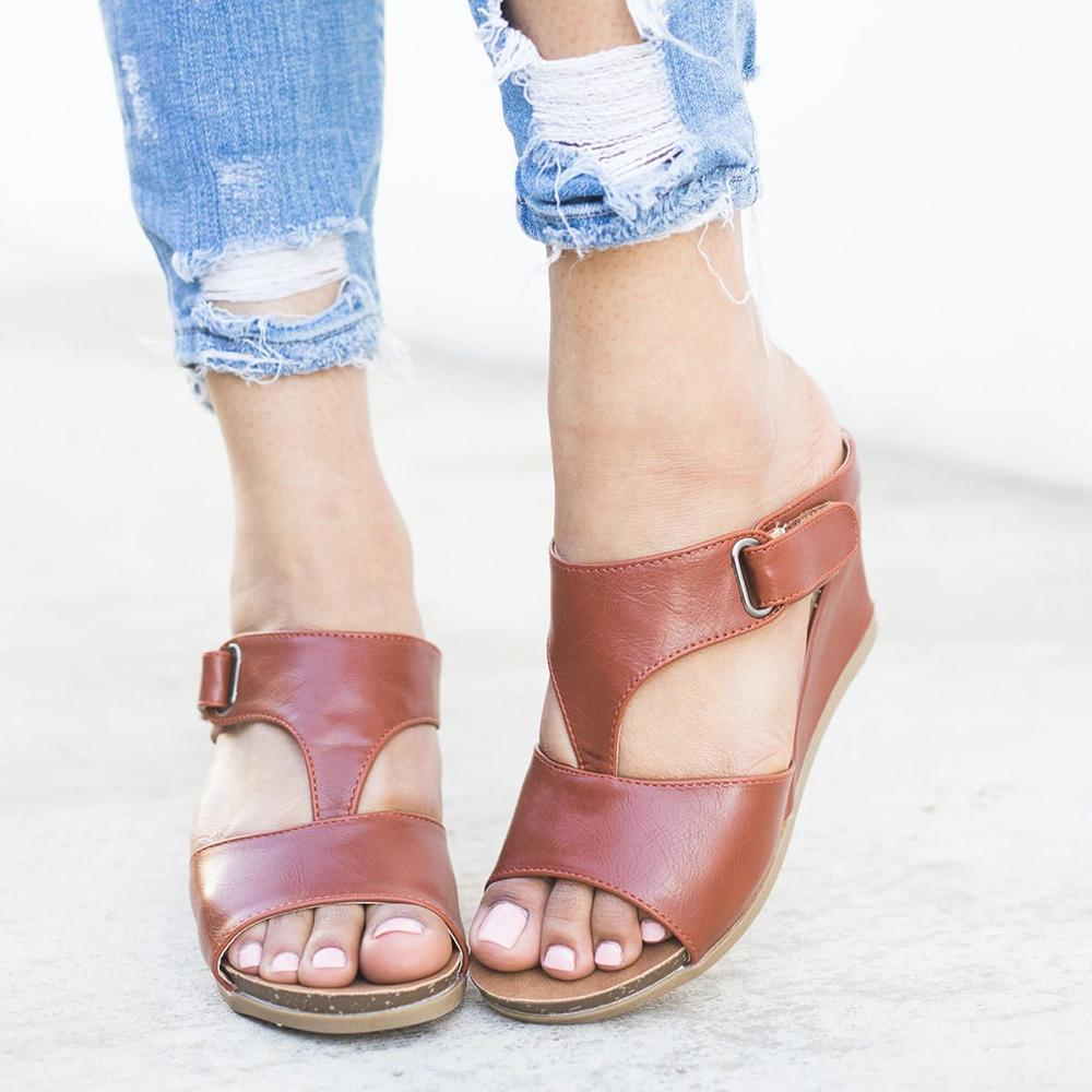 Vieley Womens Open Toe Faux Leather Wedge Sandals