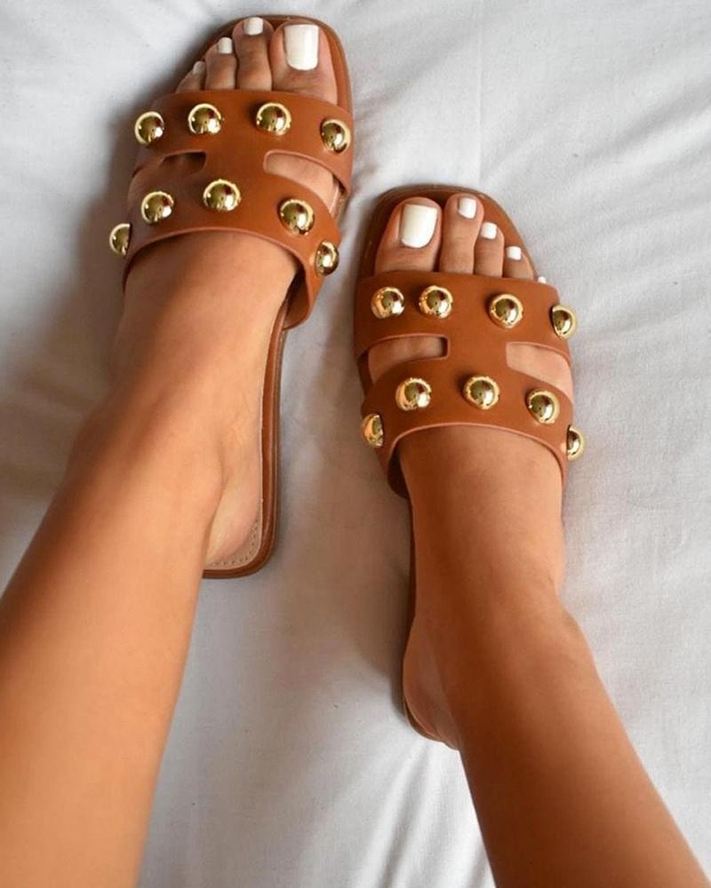 Vieley Square Open Toe Slides Studded Slip-on H-strap Sandals