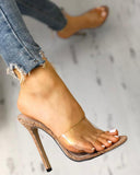 Vieley Transparent Stilettos Single Strap Sandals