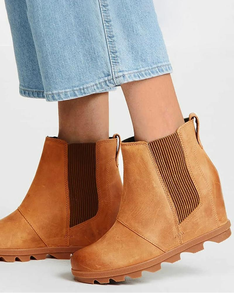 Vieley Wedge Ankle Boots Elastic Slip on Heel Short Boots