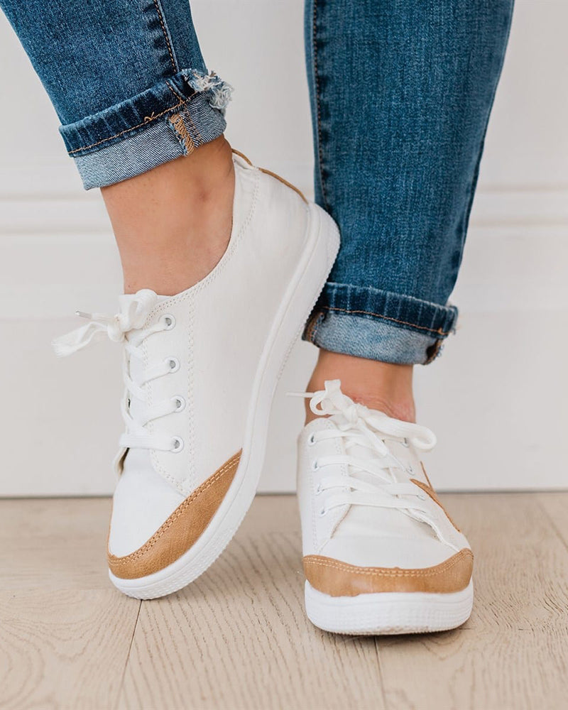 Vieley Women Lace-up Collage Comfy Flat Sneaker