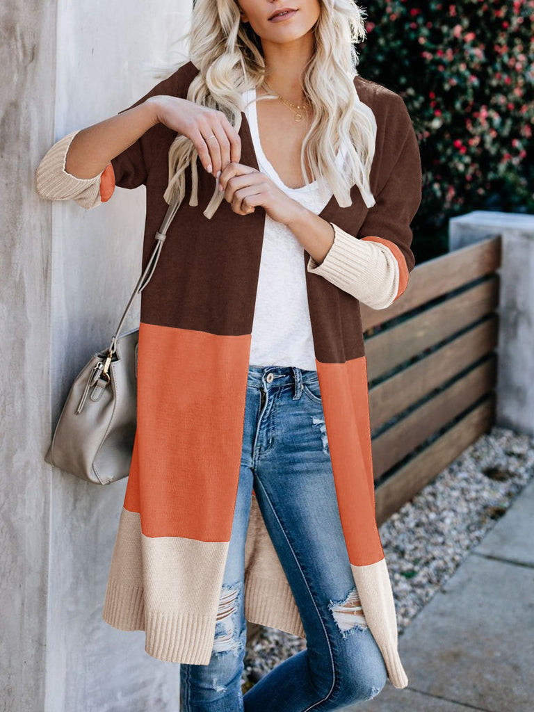 Boho Open Front Cardigan Colorblock Lightweight Sweaters - Vieley