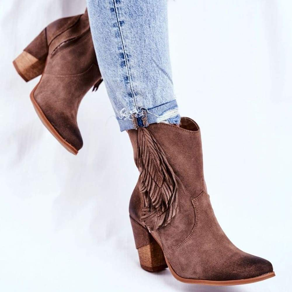 Vieley Leaf Tassel Block Heel Side Zipper Boots