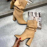 Vieley Pointed Toe Chunky Heels Pull up Boots