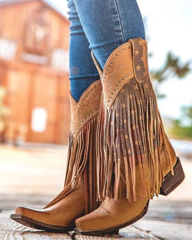 Vieley Tassels Boots Square Toe Low Heel Buskin Boots