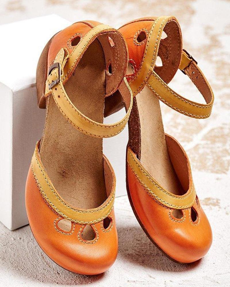 Vieley Hollow Out Round Toe Clog Chunky Heeled Sandals
