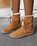 Vieley Round Toe Drawstring Velvet  Snow Boots Ankle Boots