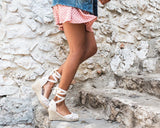 Vieley Espadrille Platform Wedges Closed Toe Lace Up Sandals