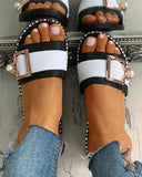 Vieley Open Toe Buckled Strap Flats Patchwork Striped Slides