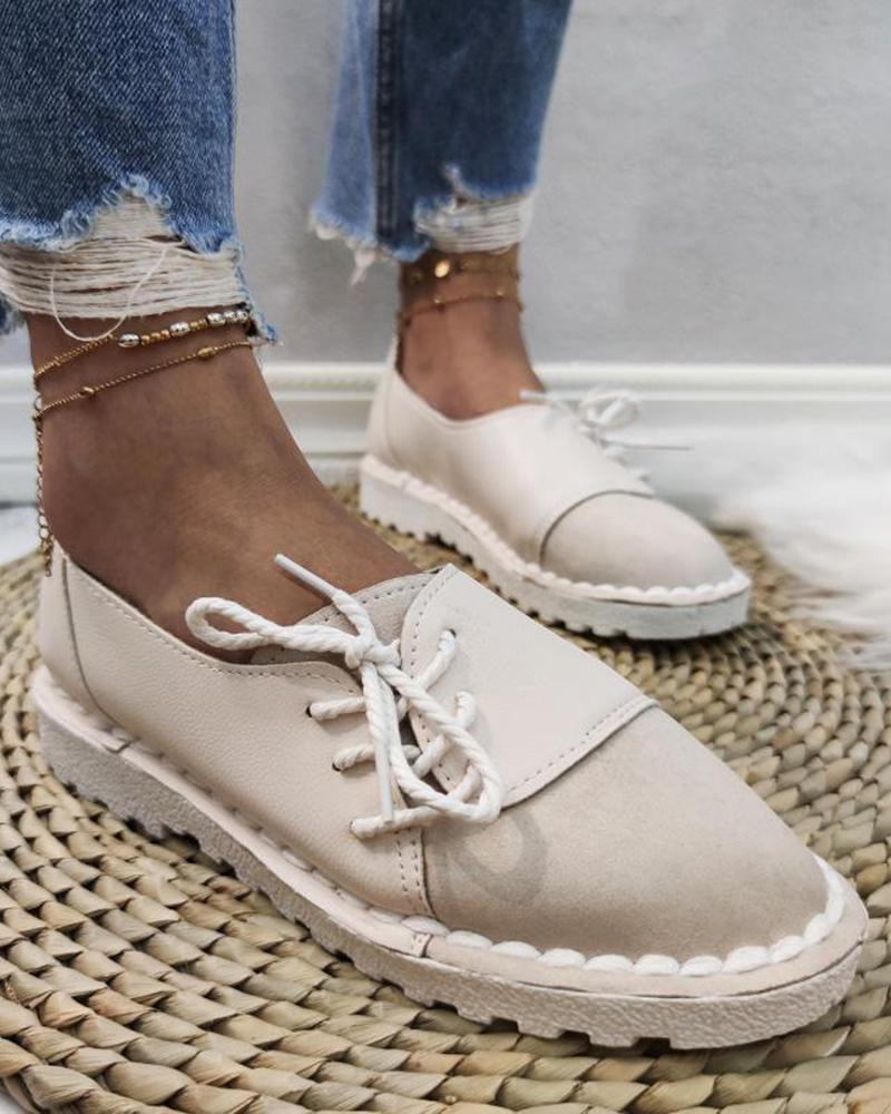 Vieley Stitching Color Lace-up Slip-on Round Toe Non-slip Loafers