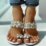 Vieley Shining Petal Rubber Sole Single Strap Sandals