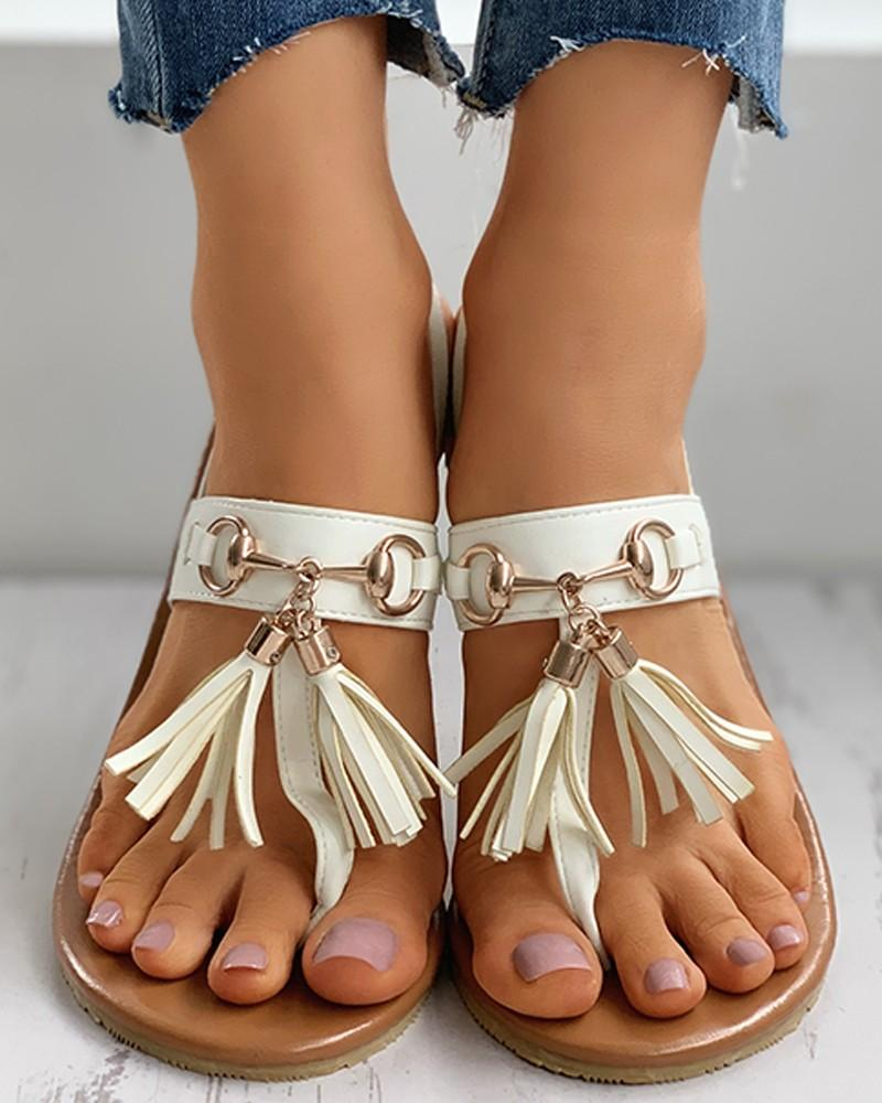Vieley Tassels Flip Flops Slingle Band Slingback Elastic Flat Sandals