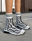 Vieley Womens Pattern Printed Elastic Shoes High Top Sneaker