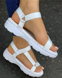 Vieley Solid Adjustable Velcro Flat Sandals