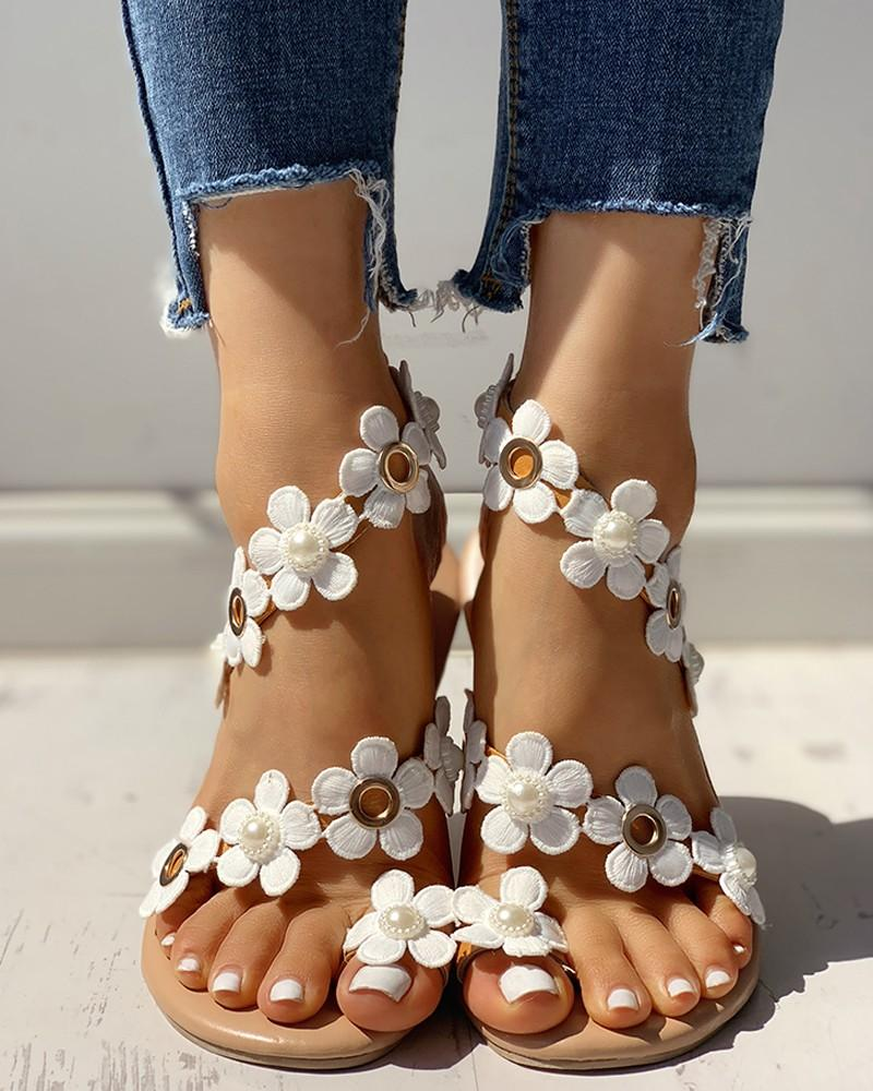 Vieley Flower Embellished Toe Ring Slip-on Roman Strappy Slides