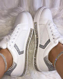 Vieley Glitter Lace-up Hollow-out Rhinestone Embellished Shinny Sneakers
