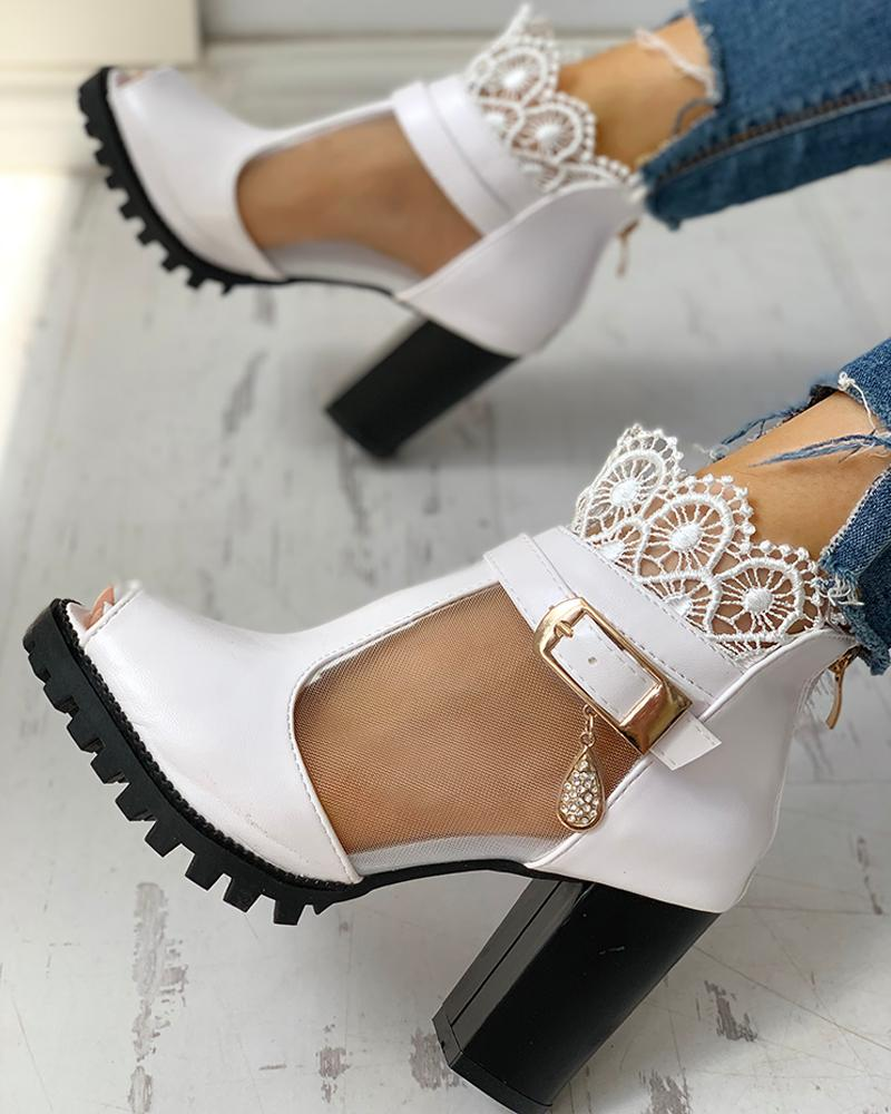Vieley Peep Toe Lace Decoration T-Strap Heeled Sandals
