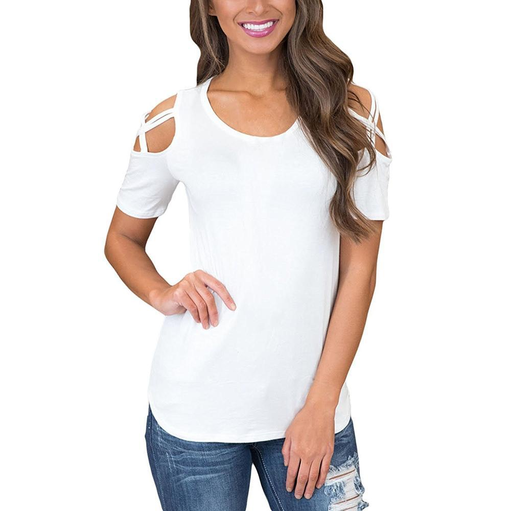 Vieley Women Short Sleeve Strappy Cold Shoulder T-Shirt Tops Blouses