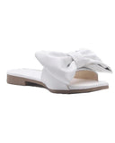 vieley Stylish Square Toe Bow Tie Flat Slides