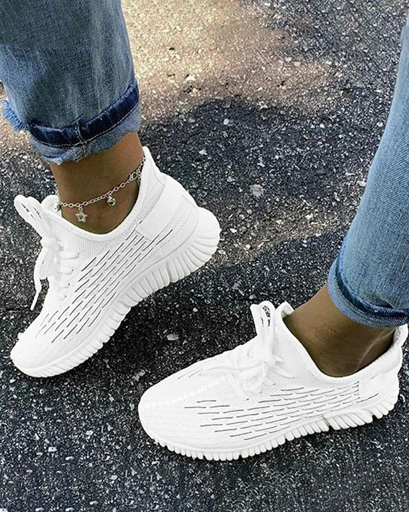 Vieley Fish Scales Stylish Breathable Lace-up Sneakers