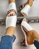 Vieley Peep Toe Rhinestone Colorful Chunky Heeled Sandals