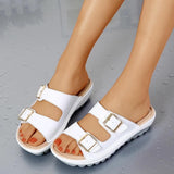 Vieley Two Buckled Strap Slip-on Comfortable Solid Color Sandals