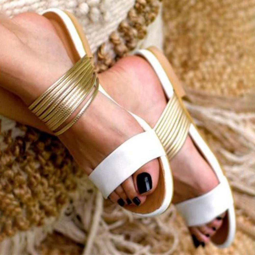 Vieley Golden Ring Multi Strap Slip-on Slides