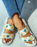 Vieley Pineapple Two Straps Comfy Summer Slides