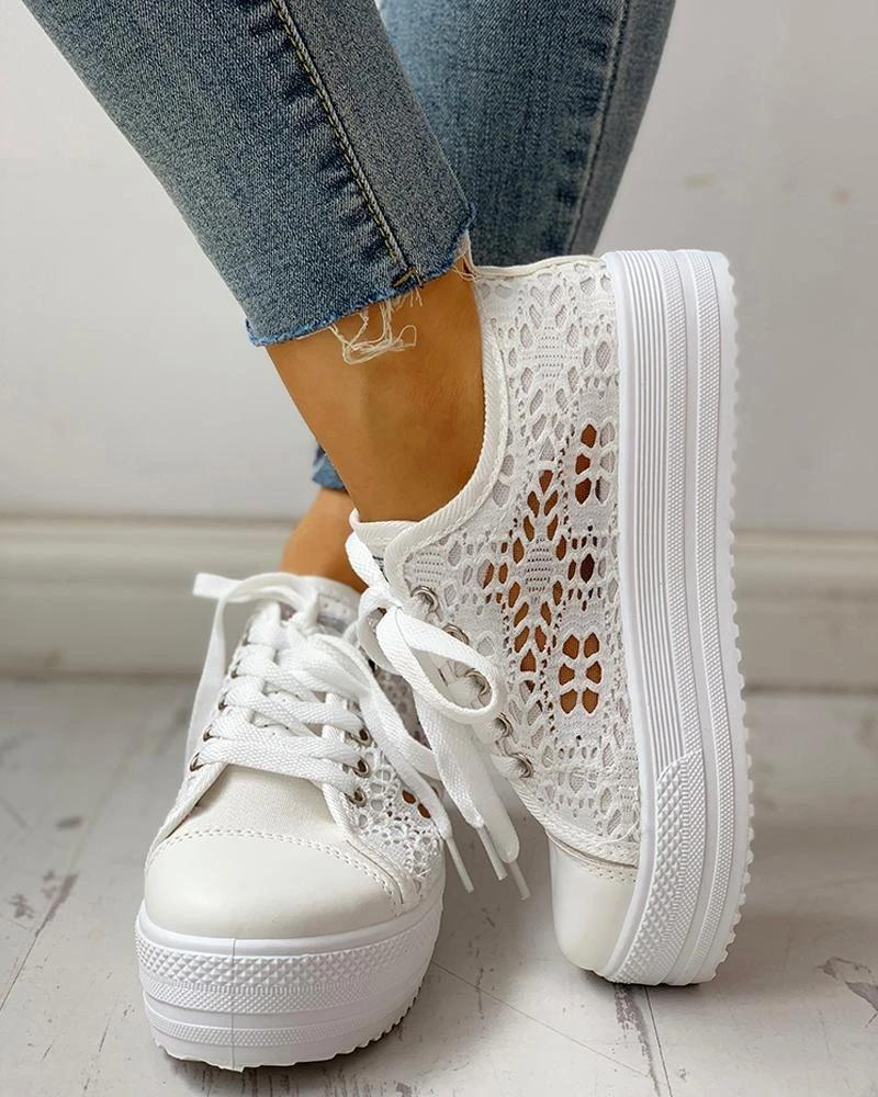 Vieley Hollow Out Lace-Up Platform Sneakers