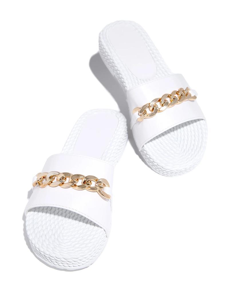Vieley Womens Casual Solid Sandals Platform Slides