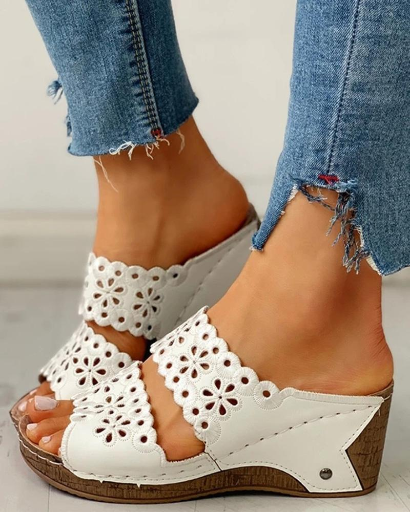 Vieley Peep Toe Slip-On Hollow Out Wedges Two Strap Ruffles Sandals