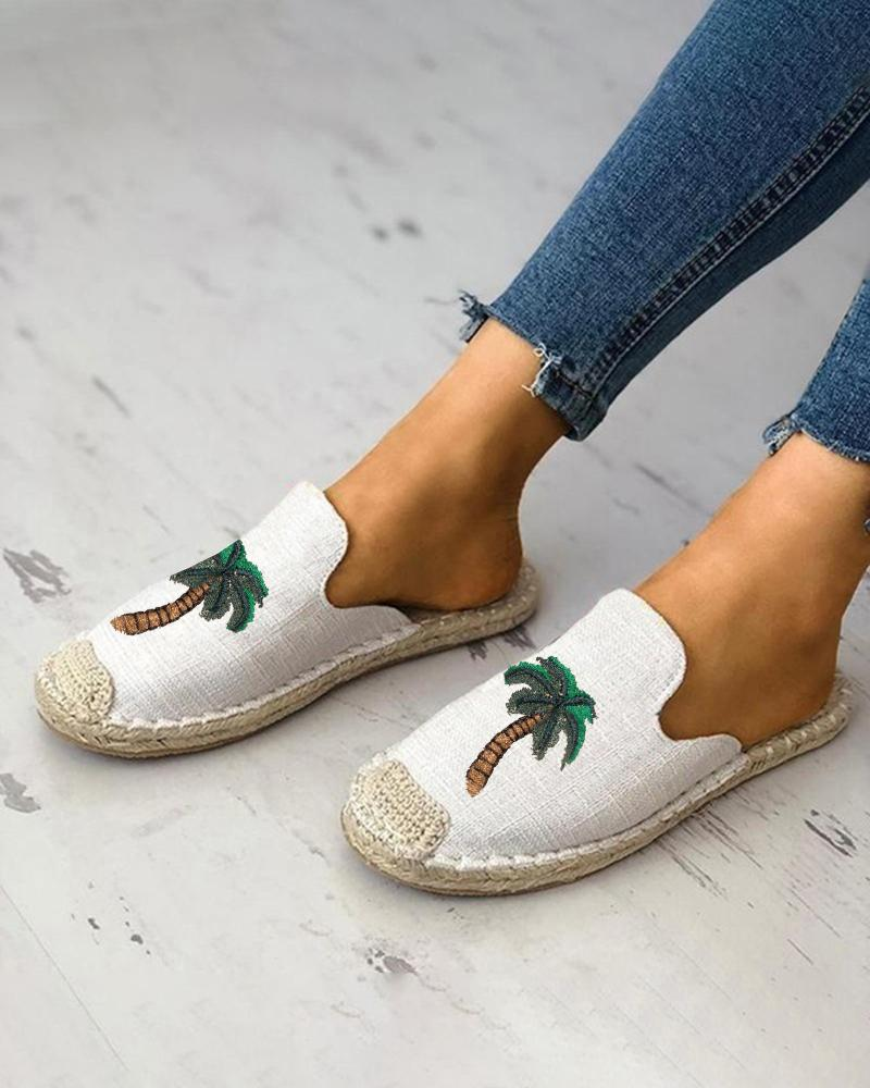 Vieley Slip on Round Toe Tree Pattern Canvas Breathable Slippers