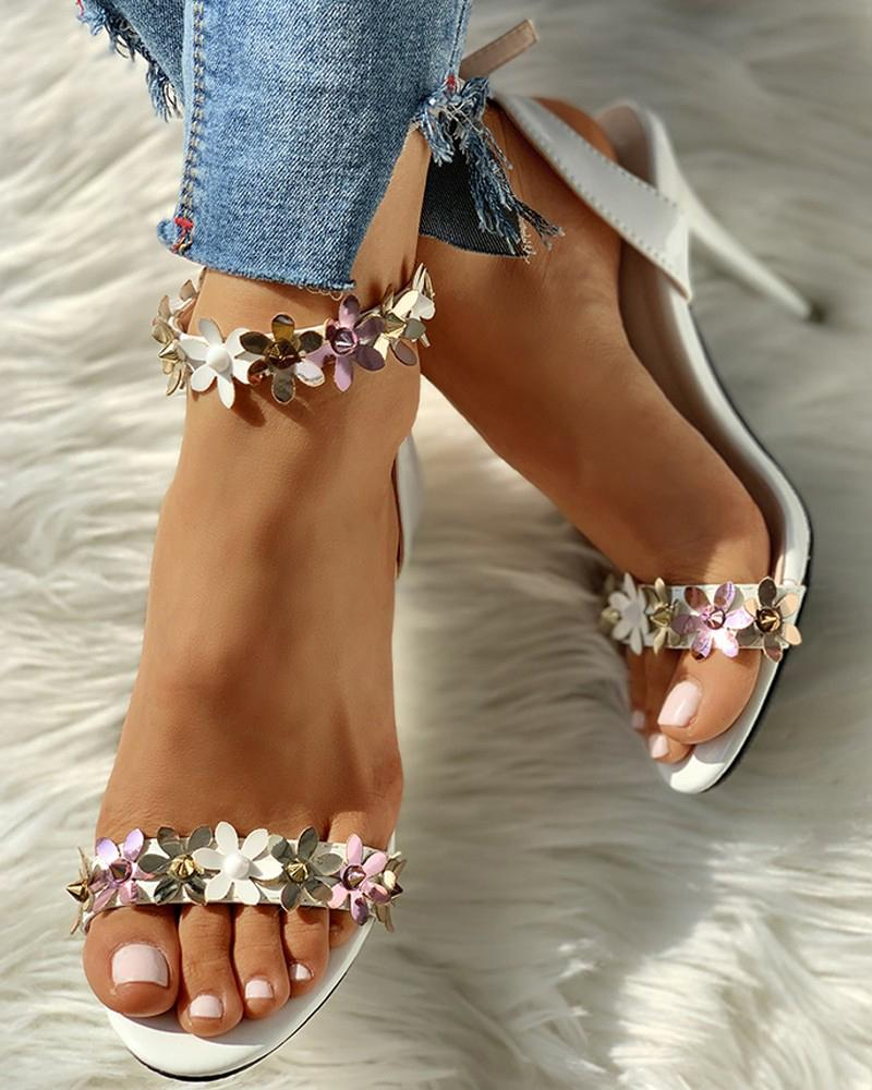 Vieley Flower Shinny Emblished Stilettos Buckled Ankle Strap Sandals